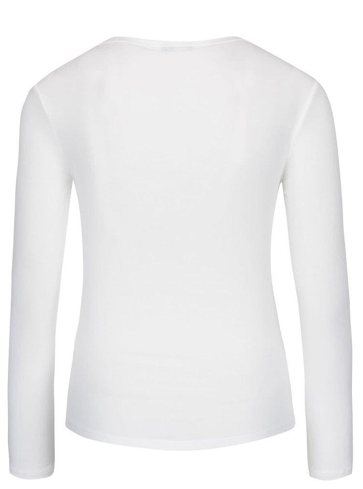 Krémové tričko s kulatým výstřihem a dlouhým rukávem ZOOT