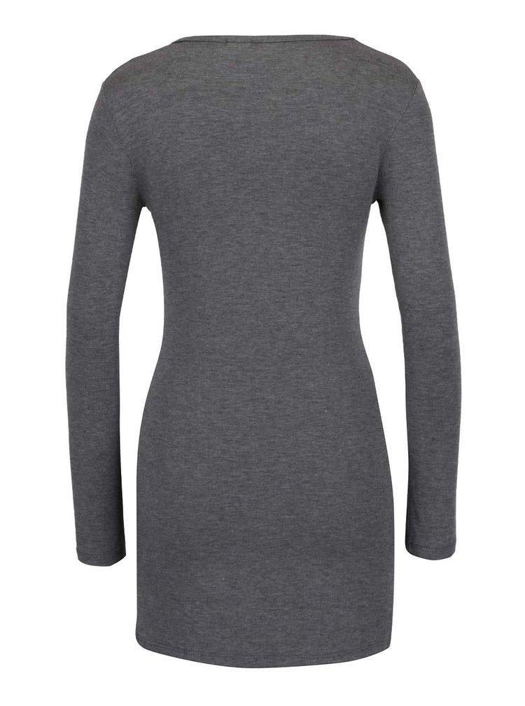 Tmavě šedé žíhané dlouhé tričko  ZOOT