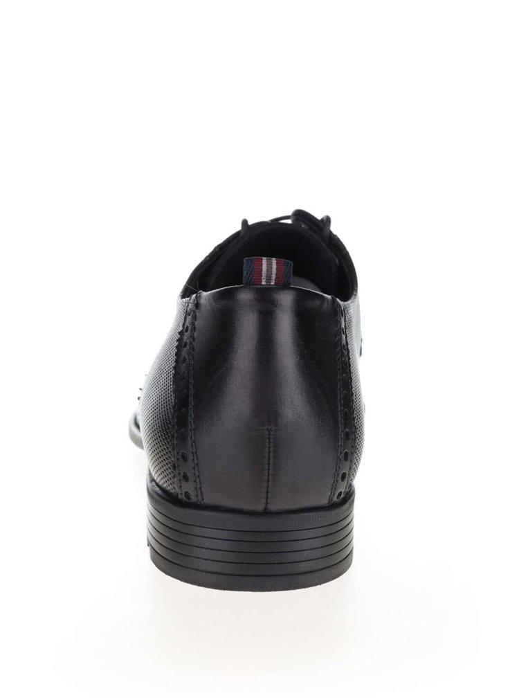 Černé pánské kožené polobotky s brogue detaily a jemným vzorem Lloyd Toscana