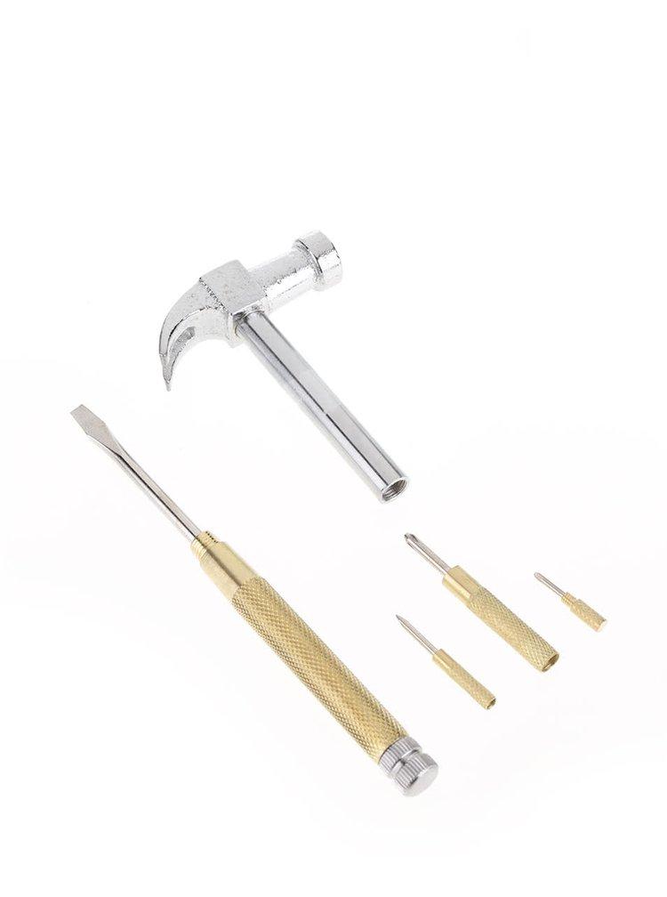 Kladívko a šroubovák v jednom ve zlaté a stříbrné barvě Kikkerland Handy Hammer