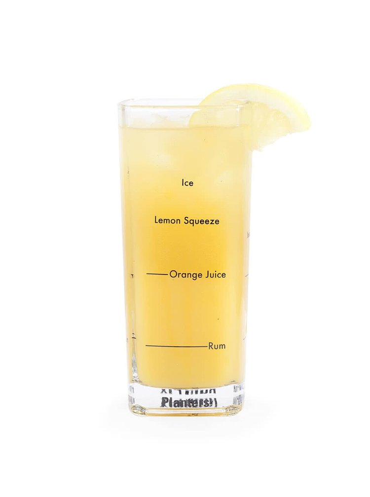 Kolekcia štyroch barmanských pohárov s potlačou receptov Kikkerland Bartending Glass