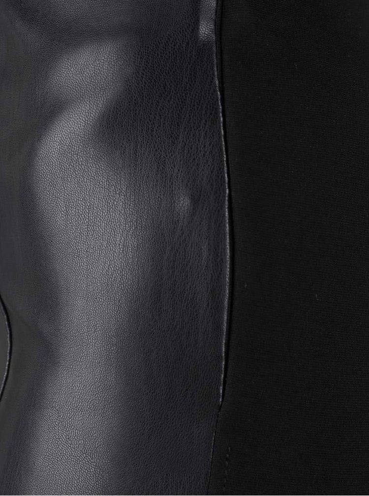 Černé legíny s koženkovou přední částí VILA Pen