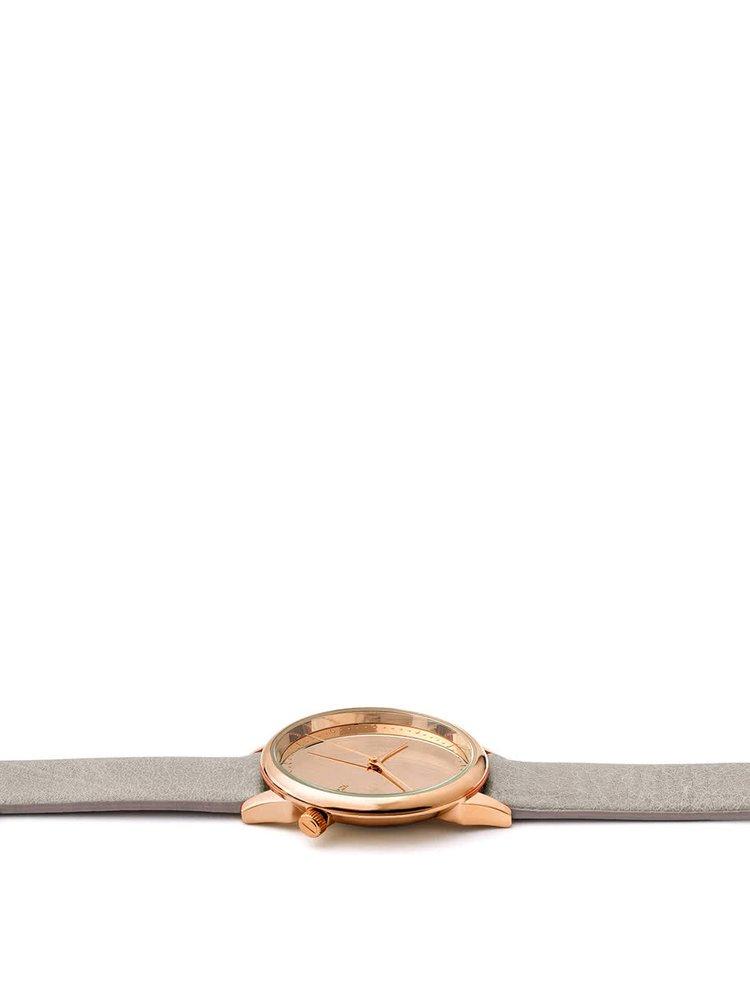 Dámské hodinky v růžovozlaté barvě s šedým koženým páskem Komono Estelle Mirror
