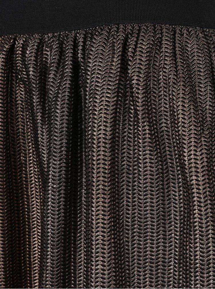 Fusta negru cu maro VILA Ginette cu model metalic