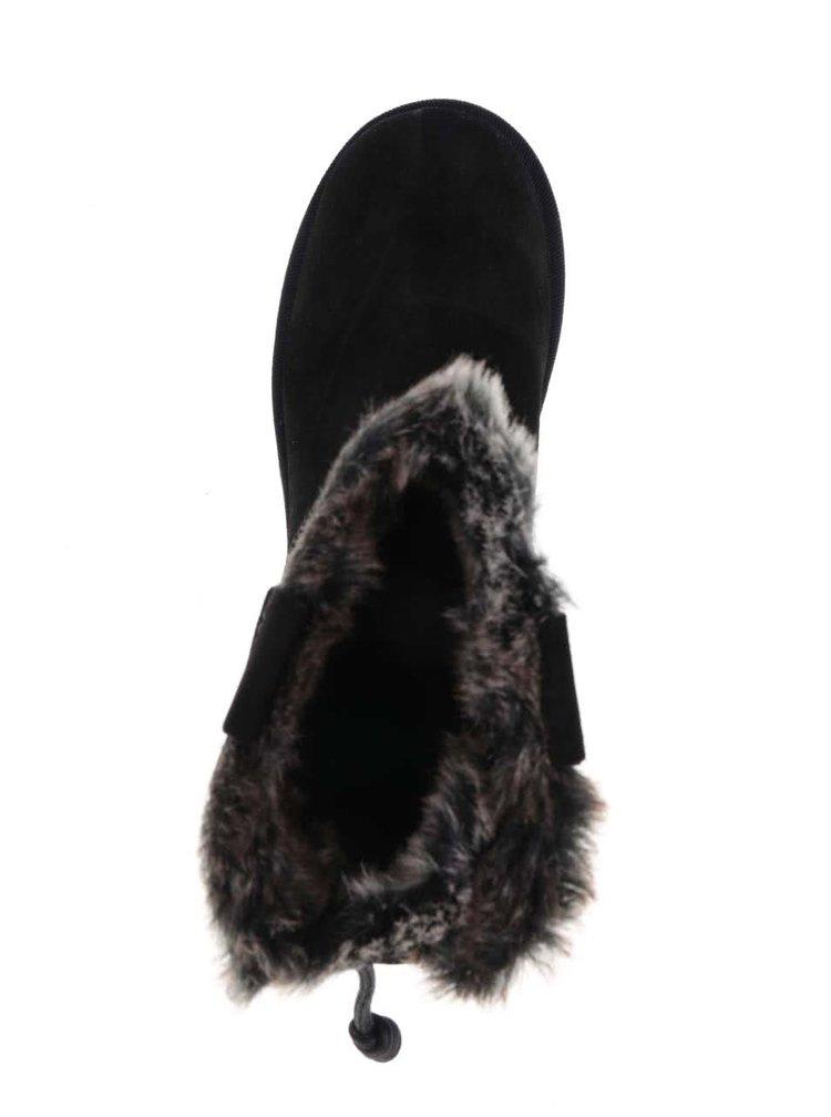 Cizme scurte negre cu blană sintetică Tamaris