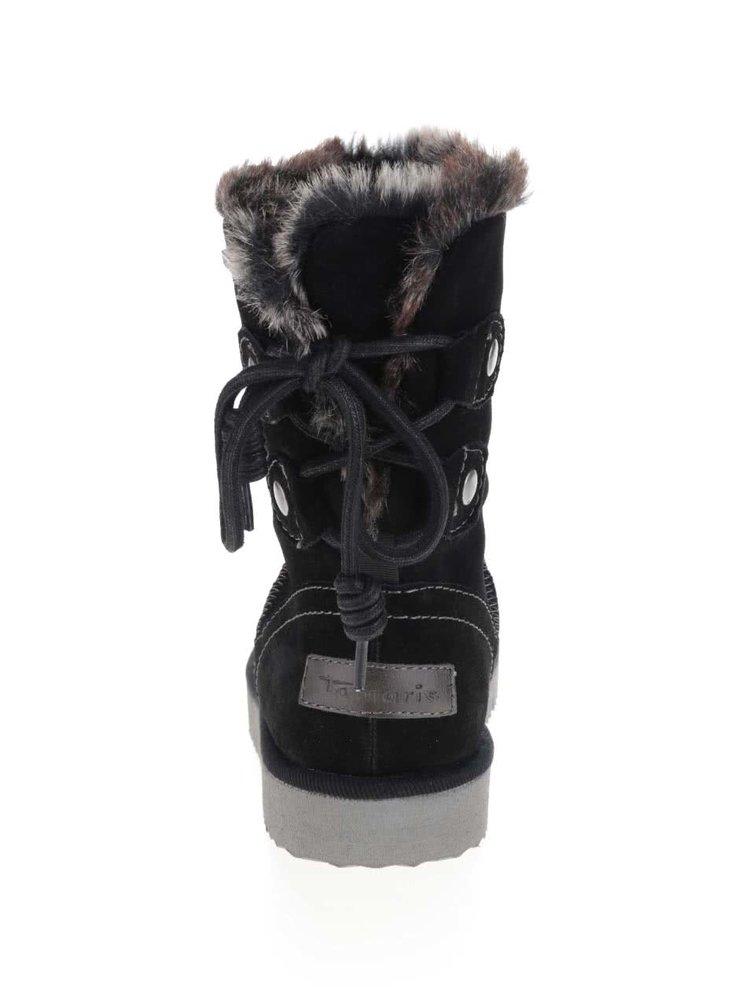 Černé zimní semišové boty s umělým kožíškem Tamaris
