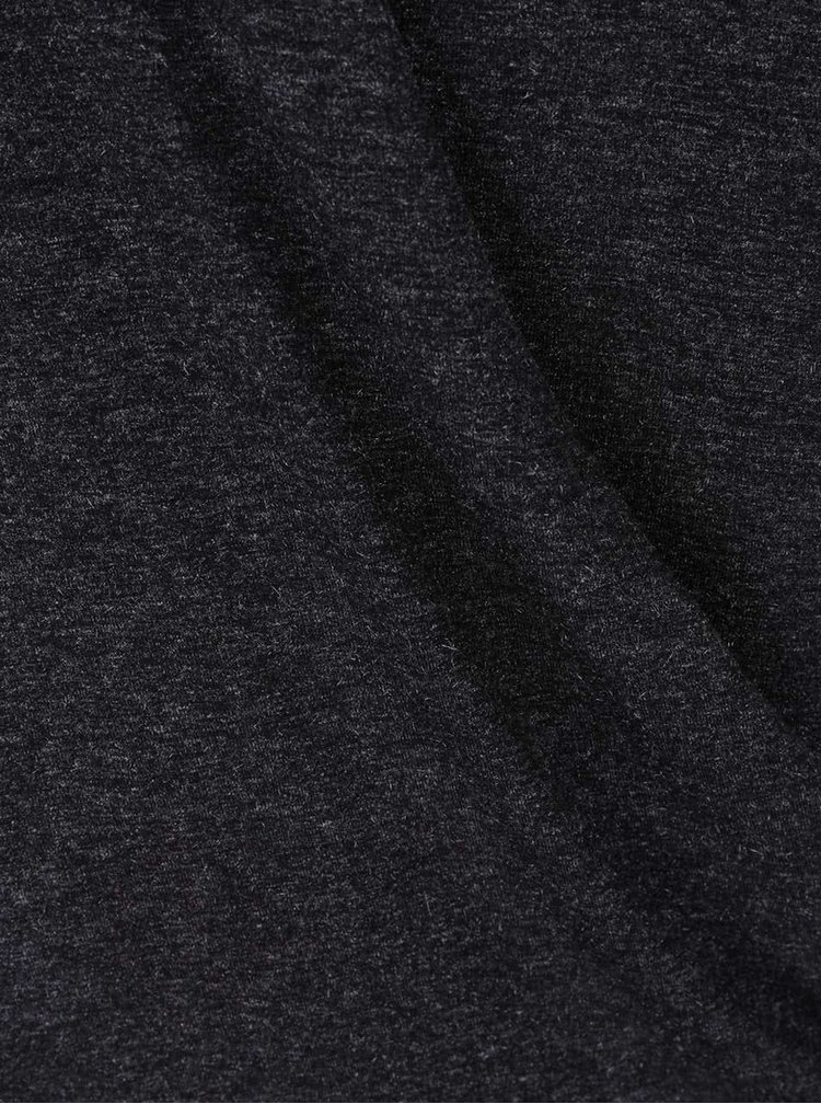 Tmavě šedé žíhané tričko s překládanou přední částí VILA Regine