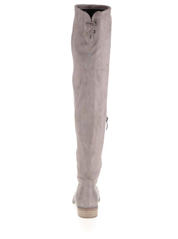 Sivé vysoké čižmy v semišovej úprave Tamaris