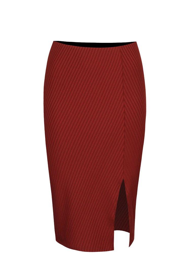 Cihlově červená žebrovaná sukně s rozparkem VERO MODA Dina