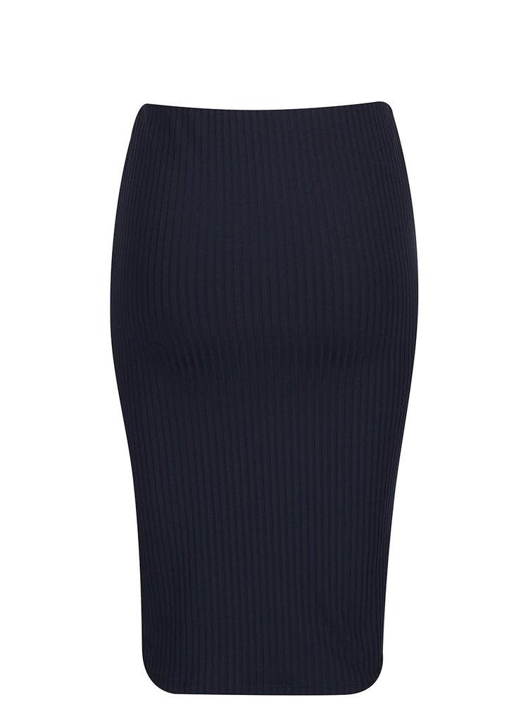 Tmavomodrá rebrovaná sukňa s rozparkom VERO MODA Dina