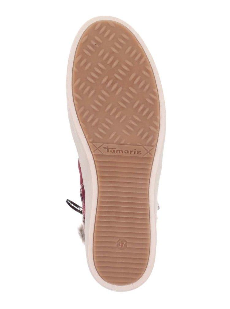 Vínové kotníkové boty v semišové úpravě s umělým kožíškem Tamaris