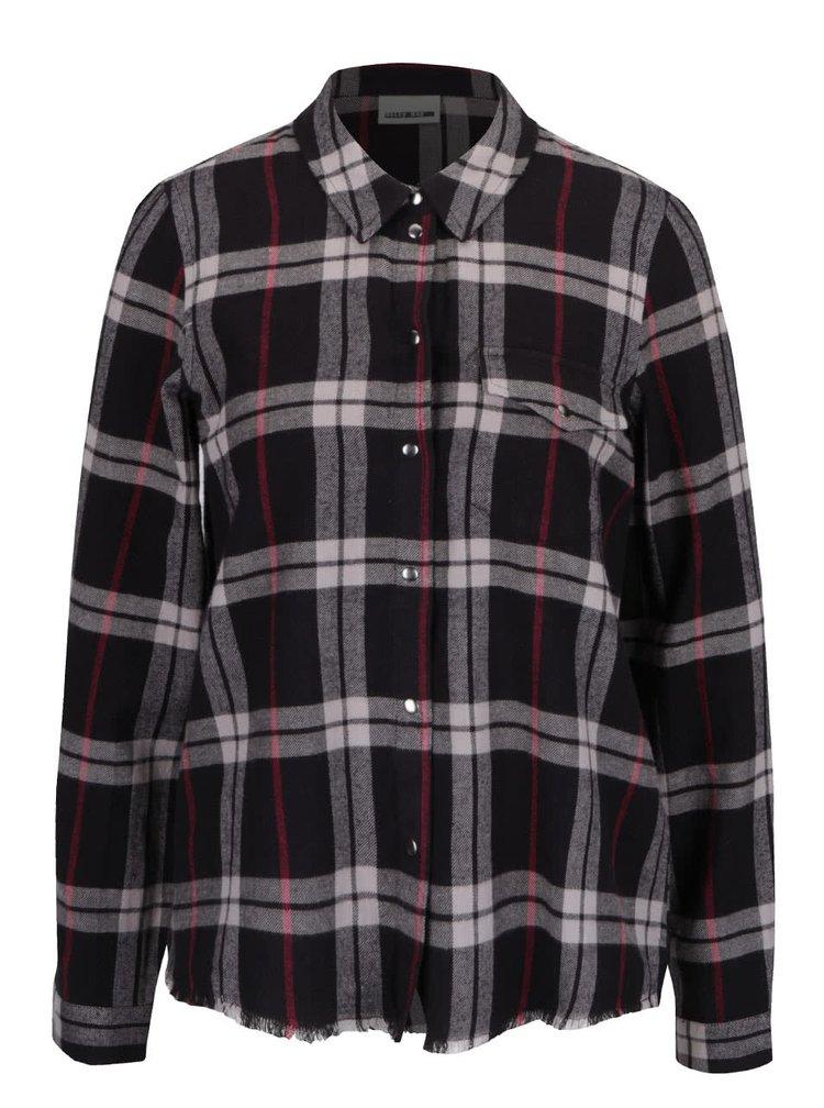 Krémovo-čierna károvaná košeľa s rozstrapkaným okrajom Noisy May Erik
