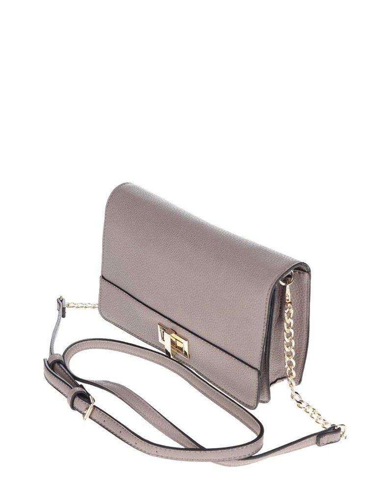 Hnědošedá crossbody kabelka s detaily ve zlaté barvě Gionni Adrienne