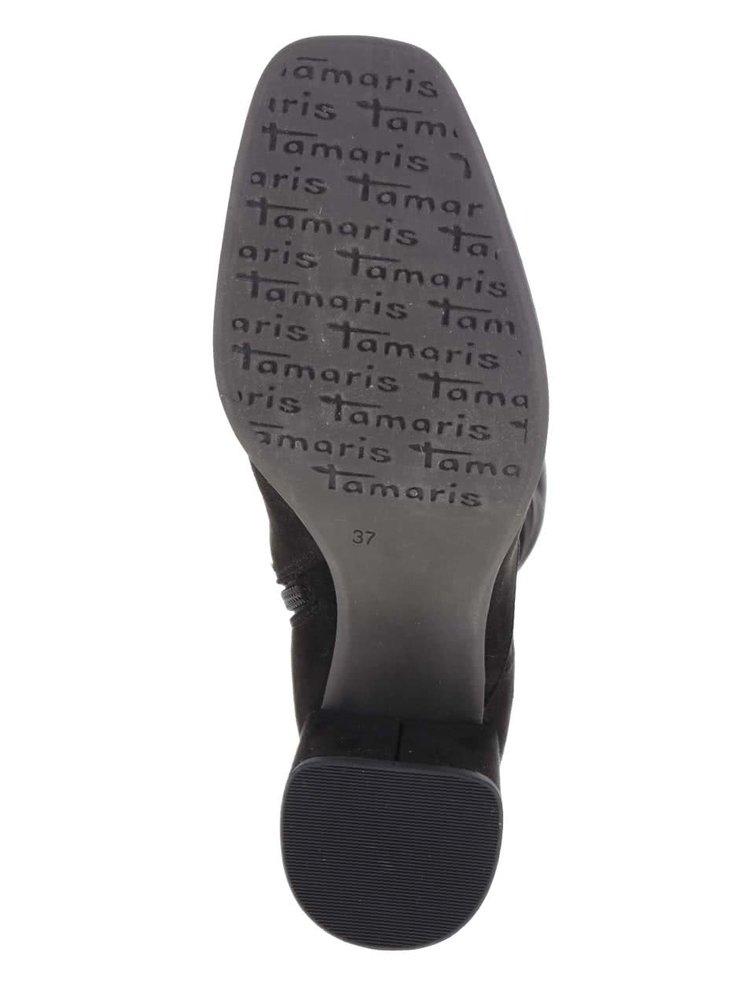 Černé vysoké kozačky Tamaris