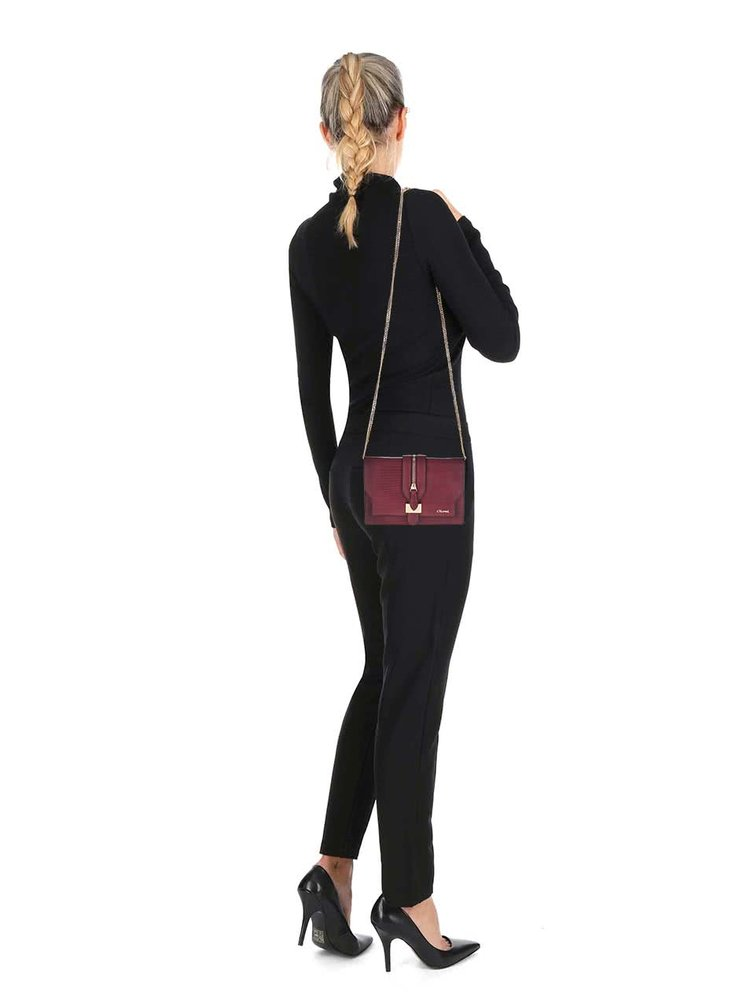 Vínová vzorovaná crossbody kabelka se zipem Gionni Margarida