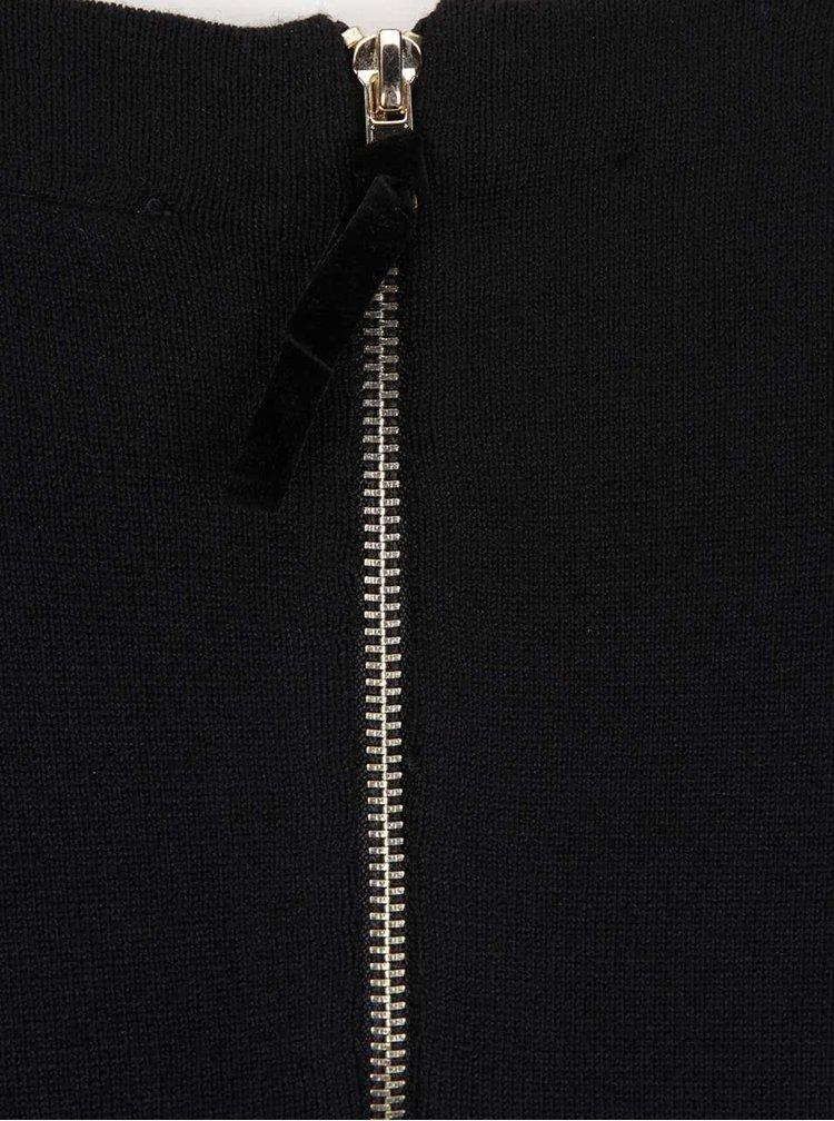 Černé volnější svetrové šaty s dlouhým rukávem VERO MODA Glory