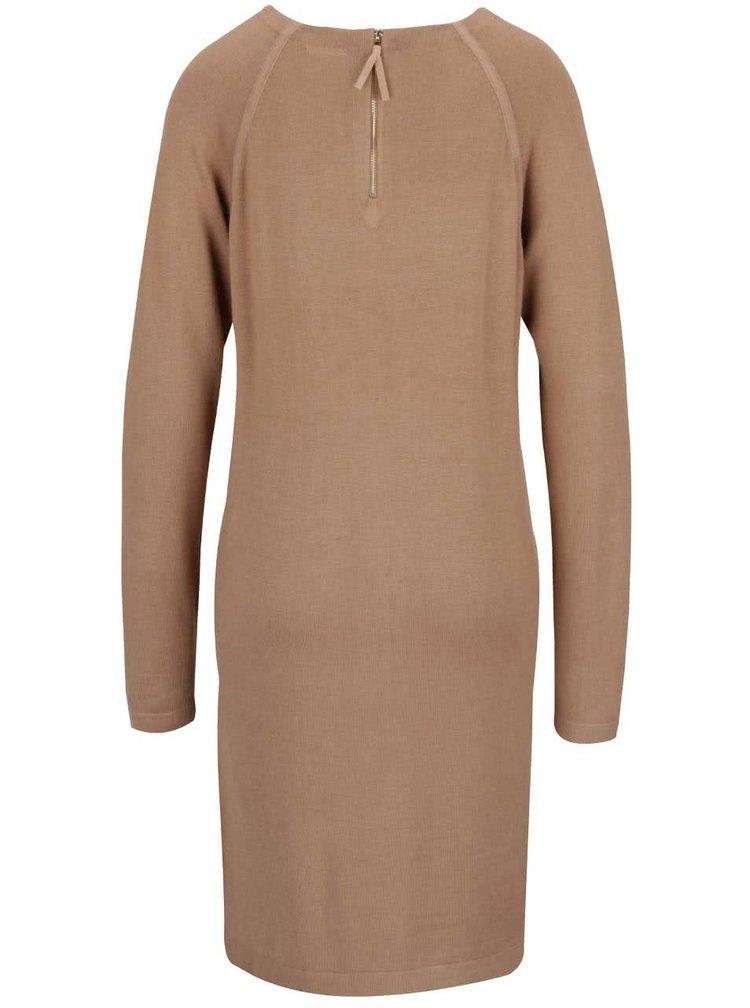 Světle hnědé volnější svetrové šaty s dlouhým rukávem VERO MODA Glory