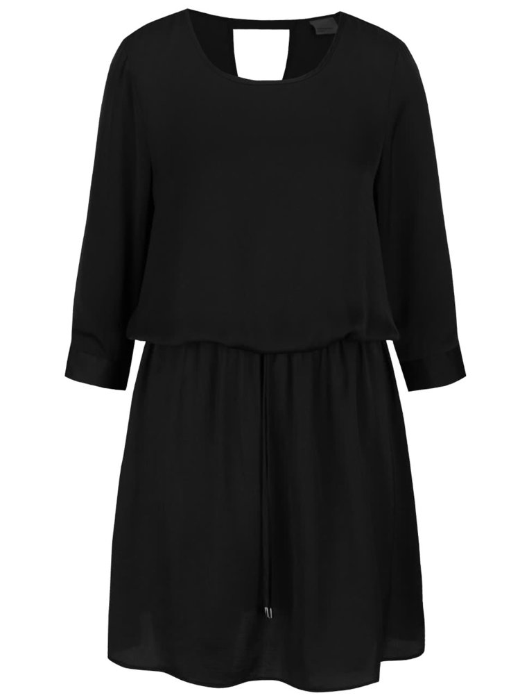 Černé volnější šaty s 3/4 rukávy VERO MODA Abby