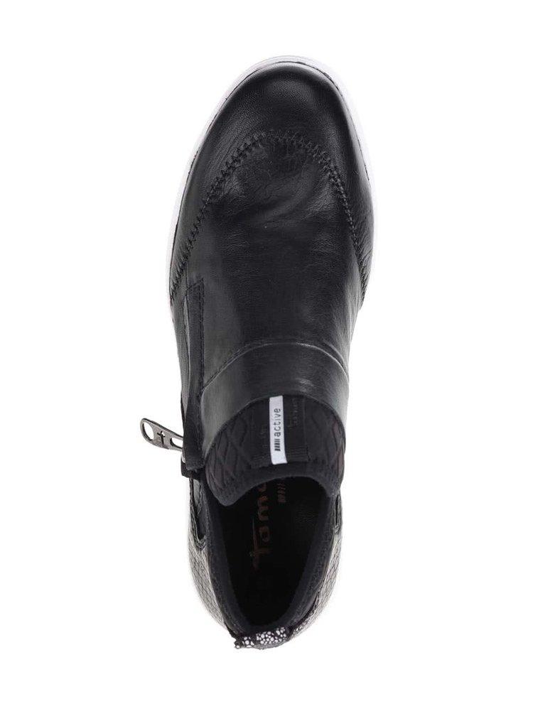 Černé kožené tenisky na zip s bílou podážkou Tamaris