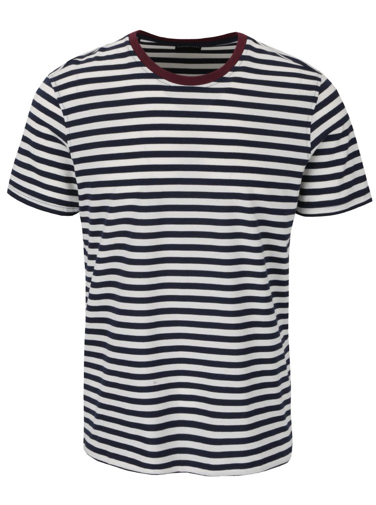 Tricou albastru si crem in dungi Selected Homme