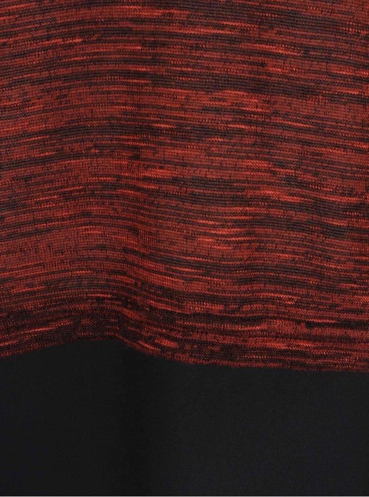 Černo-cihlová žíhaná halenka s dlouhým rukávem VERO MODA Julia