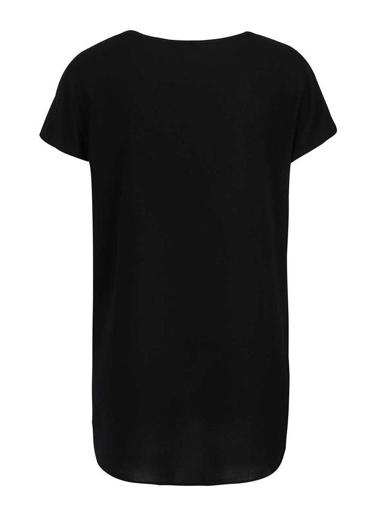 Tricou negru cu text Kiss Kiss VERO MODA Boca
