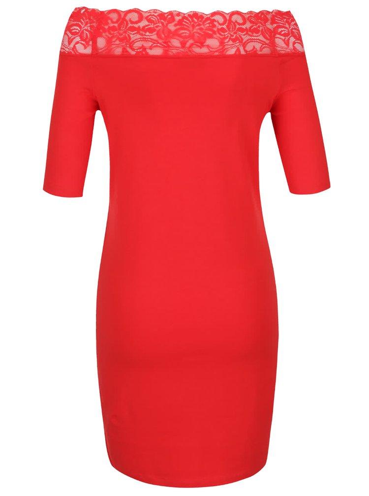 Červené šaty s krajkovým lemem Noisy May Lacy