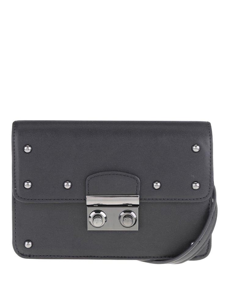 Černá crossbody kabelka s cvočky Pieces Helene