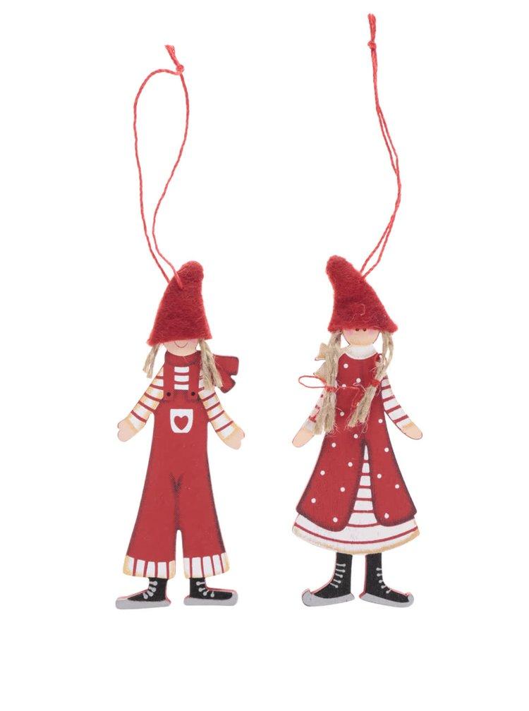 Set dvou červených ozdob ve tvaru chlapce a dívky Sass & Belle