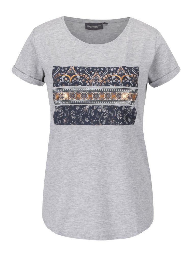 Šedé dámské tričko s potiskem Broadway Ravinia