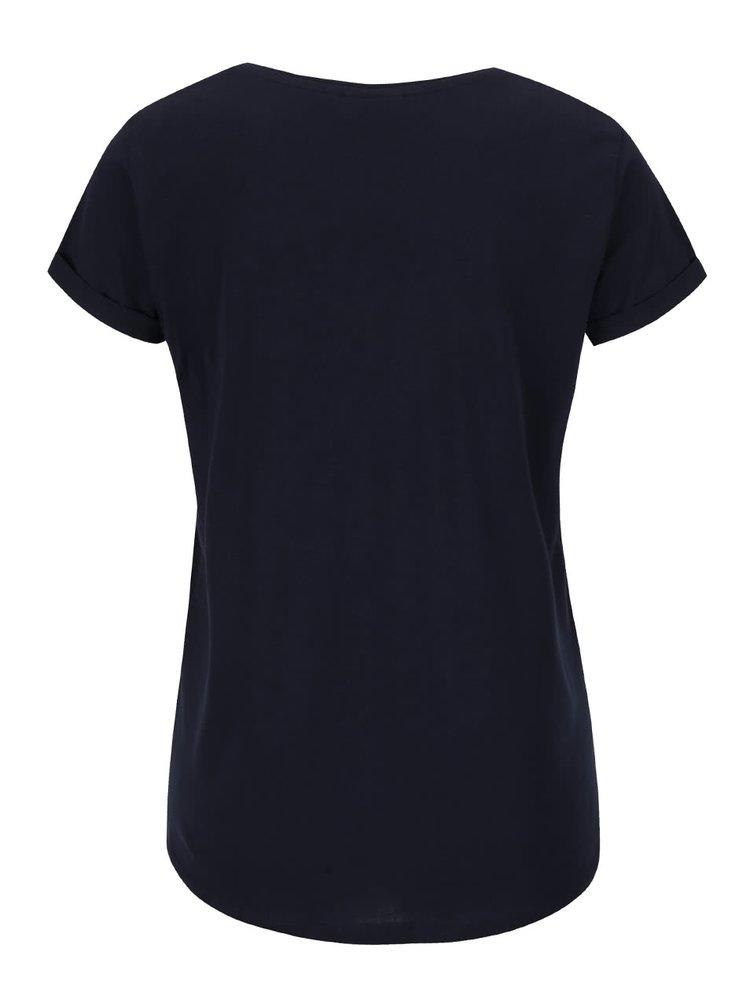 Tricou albastru închis Broadway Ravinia din bumbac cu print pentru femei