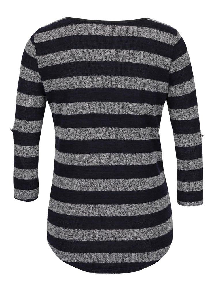 Šedo-modré pruhované tričko s 3/4 rukávy Haily´s Elle