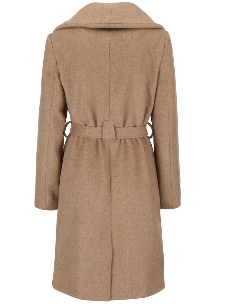 Béžový dámsky kabát s opaskom Broadway Remi