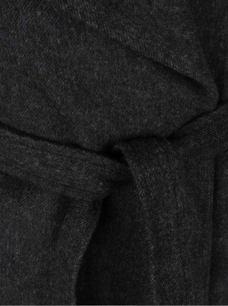 Palton gri inchis Broadway Remi cu cordon