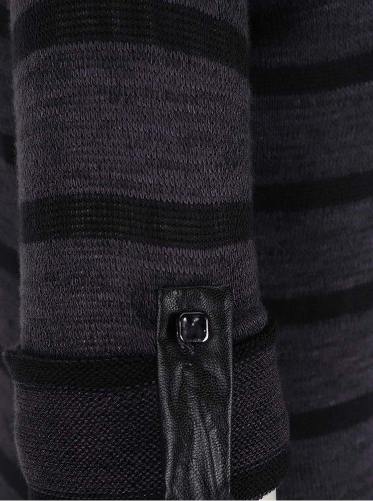 Černo-šedé pruhované tričko s 3/4 rukávy Haily´s Enrica