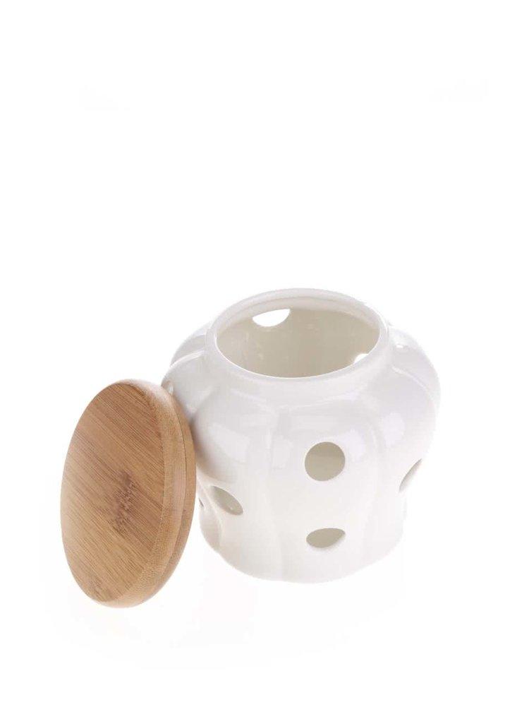 Krémová nádoba na cesnak s dreveným vekom CGB