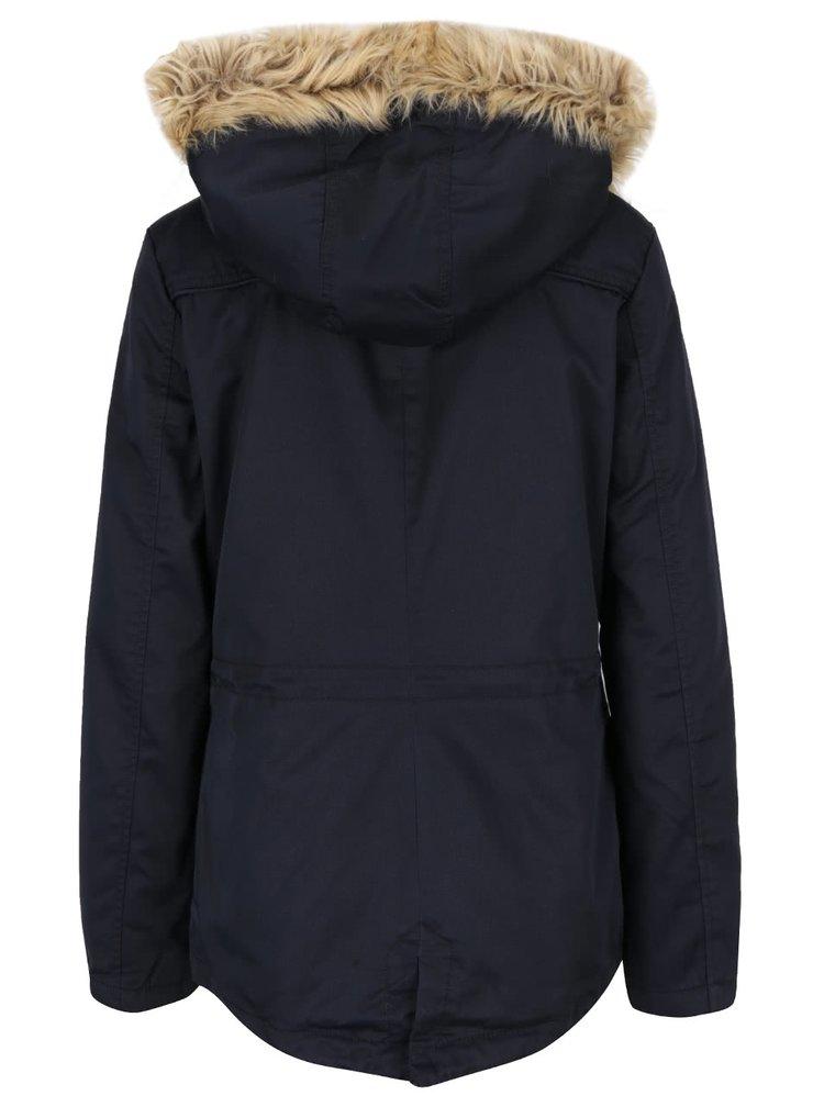 Tmavě modrá parka s kapucí a umělým kožíškem ONLY Kate