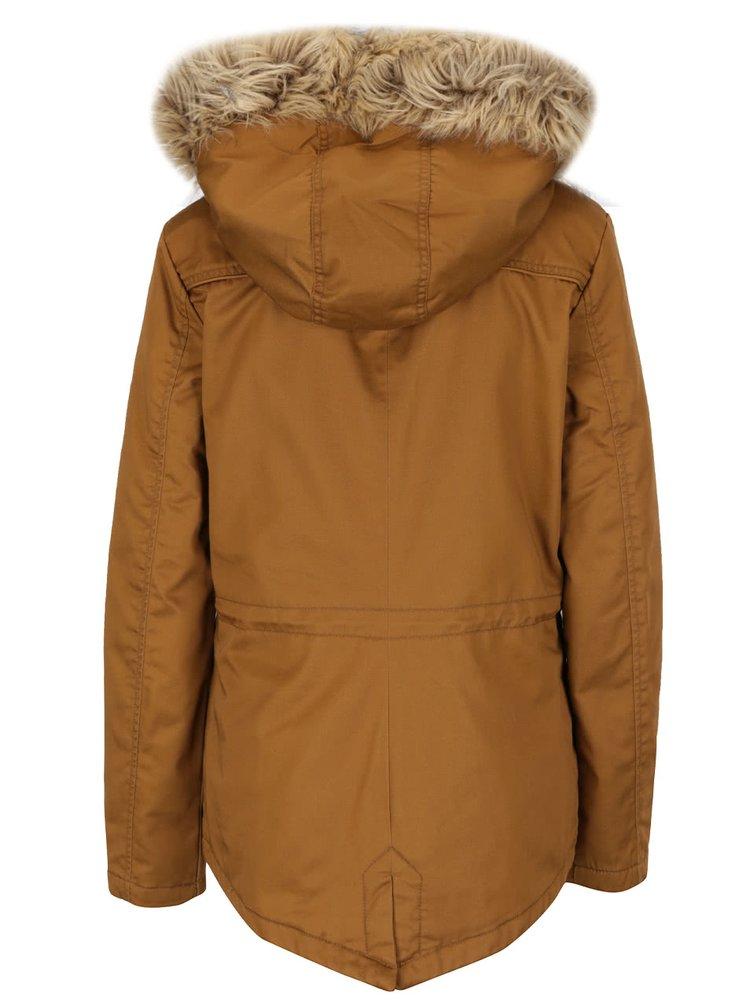 Hořčicová parka s kapucí a umělým kožíškem ONLY Kate