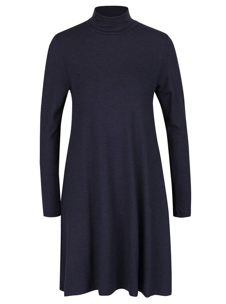 Tmavě modré volnější šaty s rolákem a dlouhým rukávem ONLY Moster