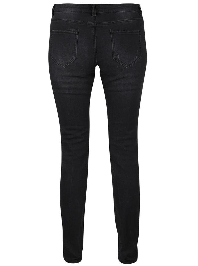 Černé dámské skinny džíny s potrhanými detaily Broadway Jane