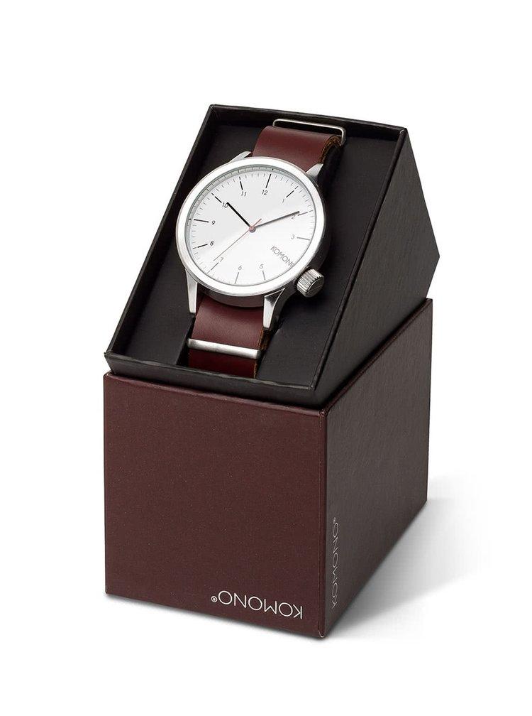 Unisex hodinky ve stříbrné barvě s koženým páskem Komono Magnus