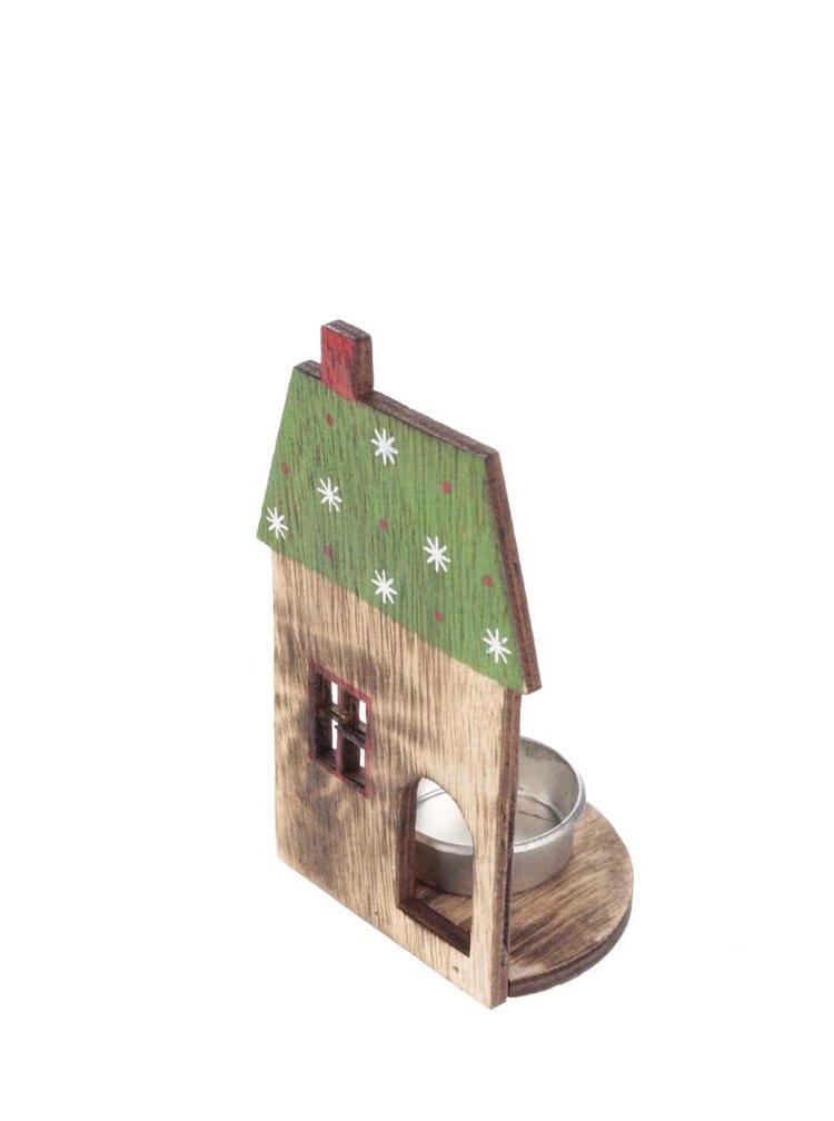 Zeleno-hnědý svícen ve tvaru domku CGB