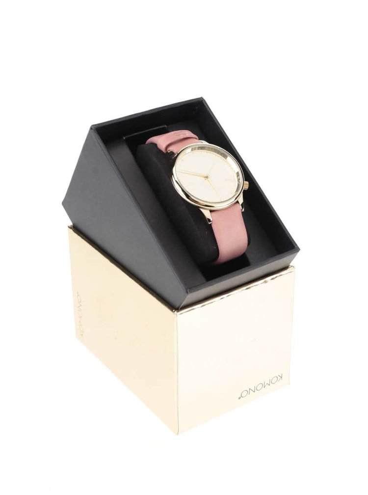 Dámské hodinky ve zlaté barvě s růžovým koženým páskem Komono Estelle Mirror