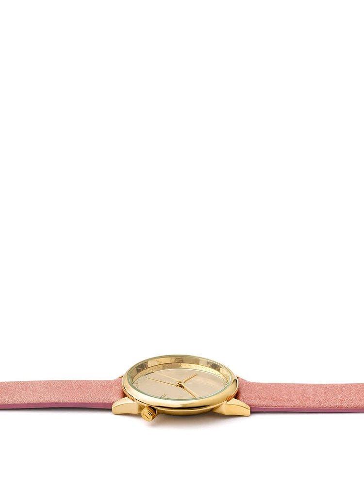 Dámské hodinky s růžovým koženým páskem Komono Estelle Mirror