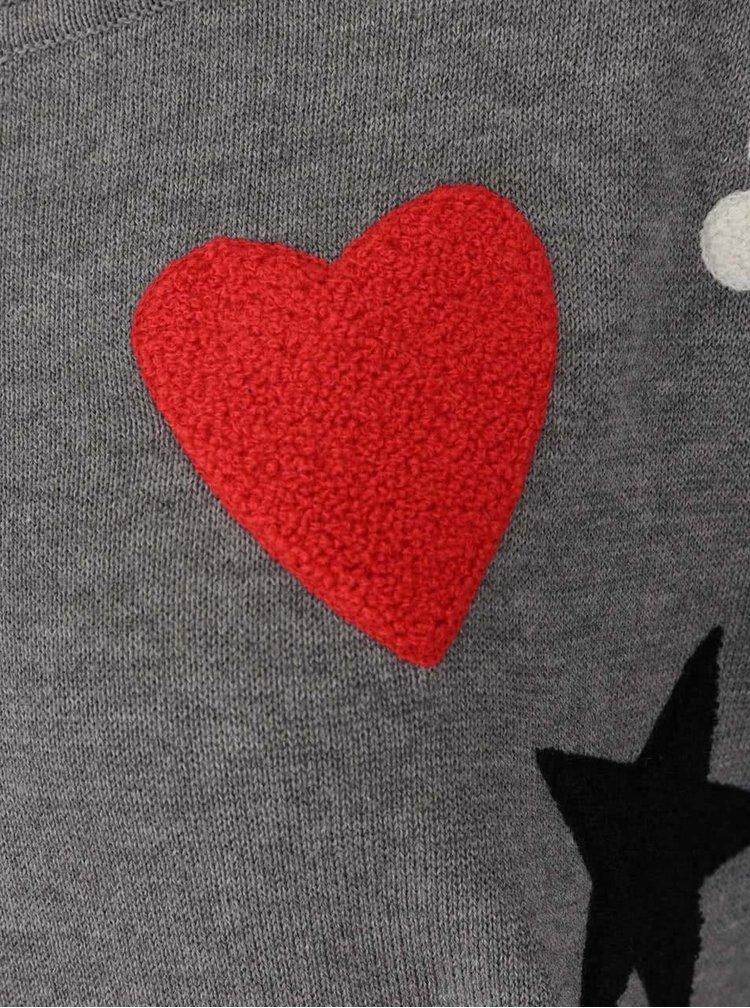 Šedý svetr s barevnými nášivkami ONLY Kenji