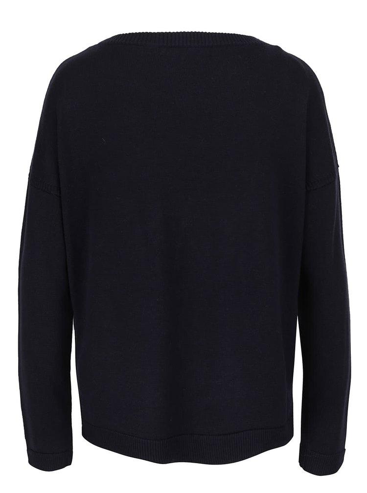 Tmavě modrý svetr s barevnými nášivkami ONLY Kenji