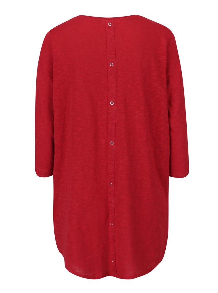 Bluza rosie ONLY Casa din bumbac cu tiv asimetric si model discret