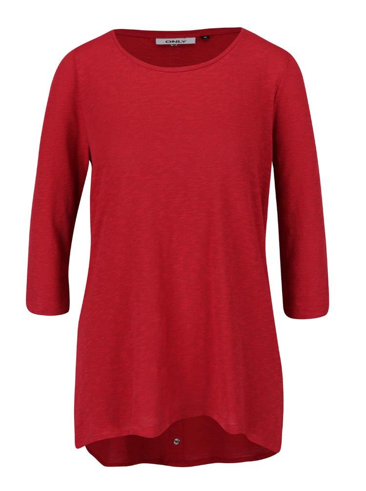 Červené žíhané volnější tričko s prodlouženým zadním dílem  ONLY Casa