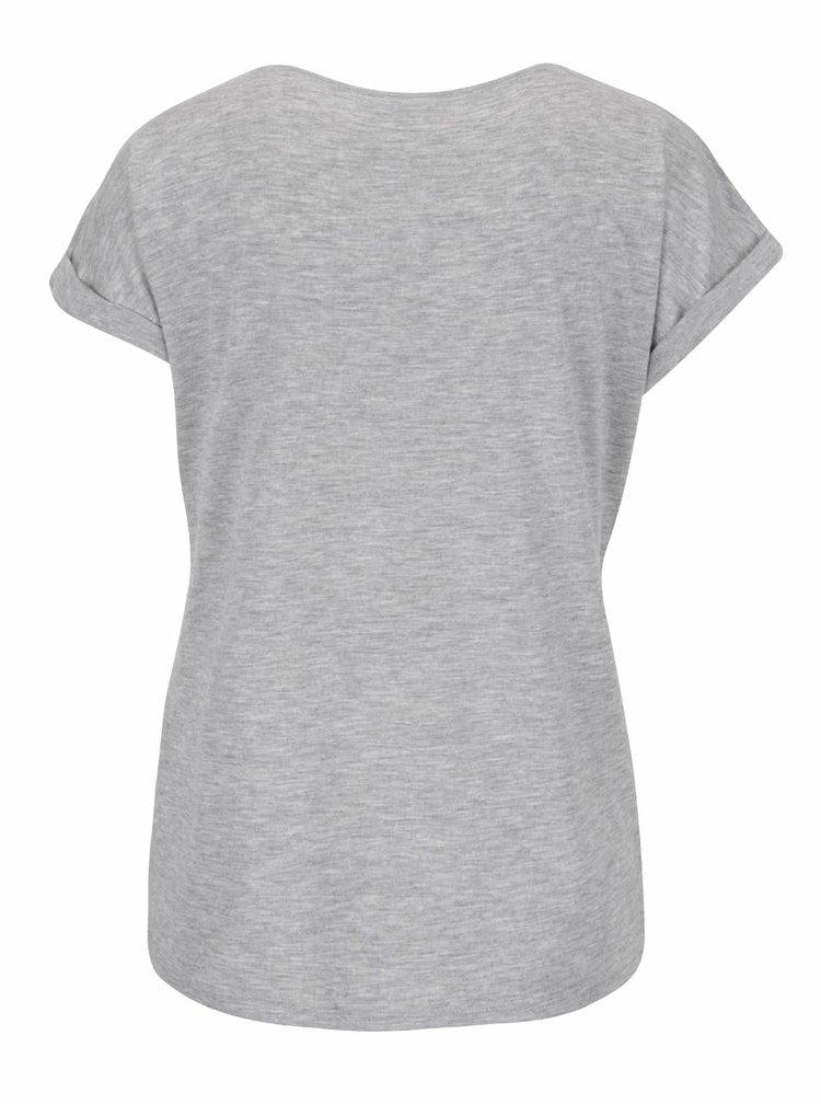 Tricou gri melanj Haily´s Enjoy cu imprimeu