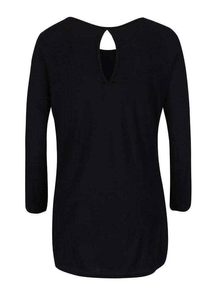 Černé tričko s potiskem a kamínky Haily´s Nouvea